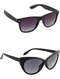 Irayz Wayfarer & Cat-Eyed Combo Sunglasses For Men & Women Black & Purple Size-M