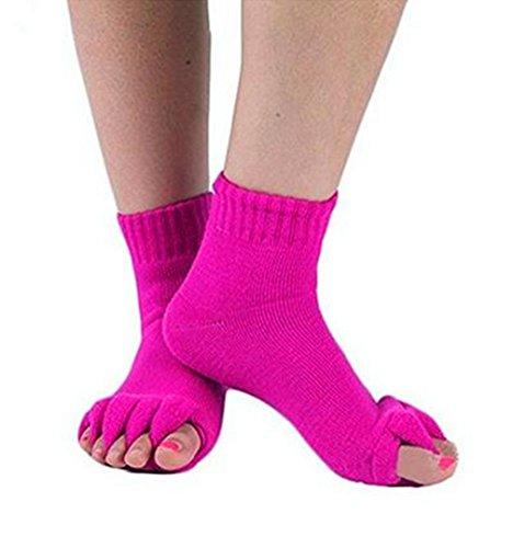 Unbekannt 1 Paar Yoga Massage Socken Zehentrenner Fußausrichtung Schmerzlinderung Halber Zeh Kompressions Socken von SamGreatWorld