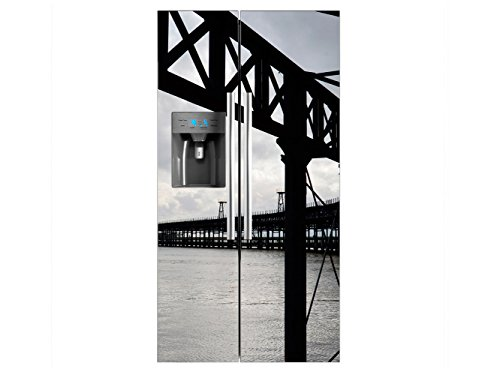 Vinilo Frigorífico Americano Puente Metalico Mar | 91x177cm | Varias Medidas |...