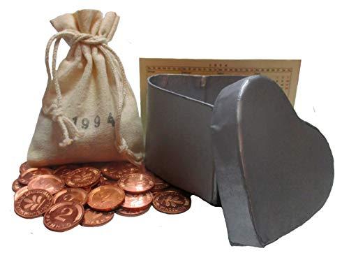 WallaBundu Geschenk zur Silberhochzeit - 25x 2 Pfennig Münzen von 1994 neu poliert - Schönes Geschenk zum 25. Hochzeitstag Geschenkidee