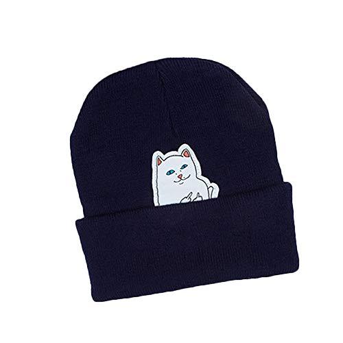 FANQIANNAN Winter-Karikatur-Katzen-Warmer Elastischer Strickmütze-Mode-Zufälliger Einfacher Hut,2