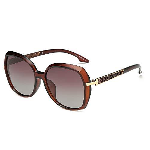 BLEVET Mode Sonnenbrille Polarisierte Classic Damen Oversized Glasses UV400 BE011 (Brown Frame)