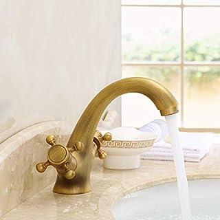 TentHome Retro Bad Armatur Wasserfall Antikes Messing Mischbatterie Wasserhahn Waschbeckenarmatur Waschtischarmatur Waschtischbatterie (A)