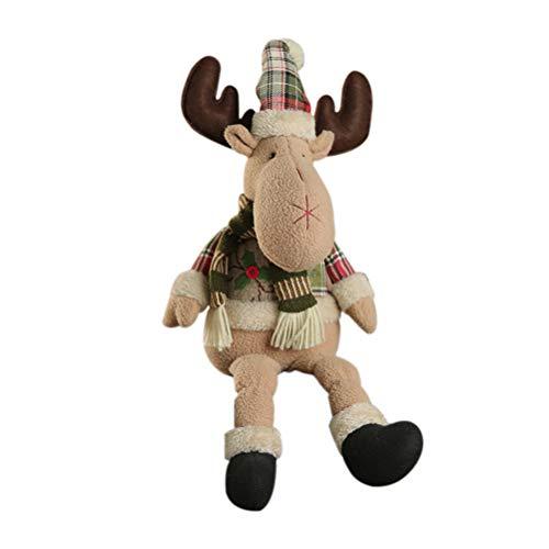 Bozaap De Noël en Peluche Poupées Mignon Santa Claus Bonhomme De Neige Renne Figure poupées Décoration De Noël Fenêtre Maison Table Ornements Cadeaux pour Enfants Amis