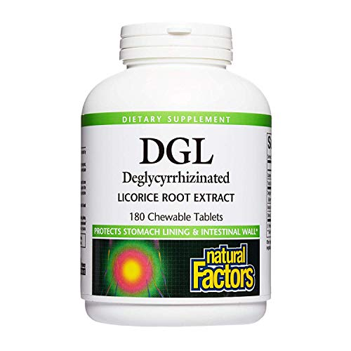 Natural Factors DGL-Deglycyrrhizinated Licorice Root Extract, 180 Chewable Tablets 400 mg