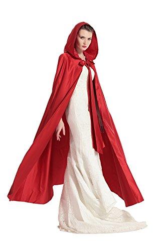 Umhang Damen Mit Kapuze Satin Für Hochzeit Braut Abendkleid Halloween Weihnachten Kostüme (Apple-halloween-kostüme)
