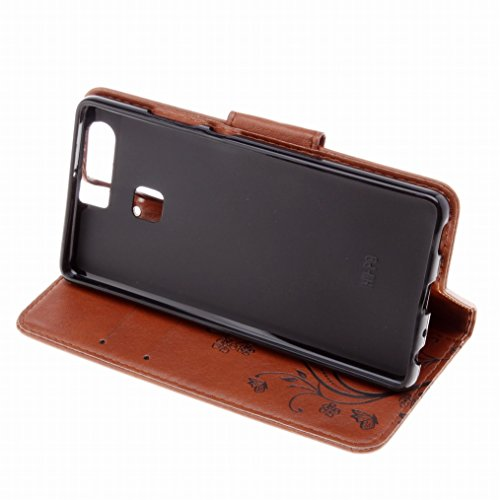 LEMORRY Huawei P9 Custodia Pelle Cuoio Flip Portafoglio Borsa Sottile Fit Bumper Protettivo Magnetico Chiusura Standing Card Slot Morbido Silicone TPU Case Cover Custodia per Huawei P9 (EVA-L09,EVA-L1 Marrone