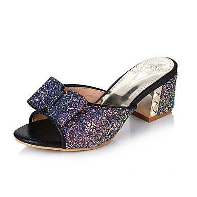 Sommer Schuhe Damen Sandalen Kleid Lässig Party & Festivität-Glanz maßgeschneiderte Werkstoffe-Blockabsatz-Komfort Neuheit Club-Schuhe-Schwarz Blau Black