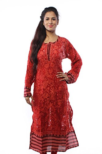 Lucknow Chikan Handcrafted Pakistani Designer Chikankari Women Red Kurti By Ada A60186