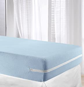 Velfont Light Blue Elastic Terry Towelling Mattress Cover