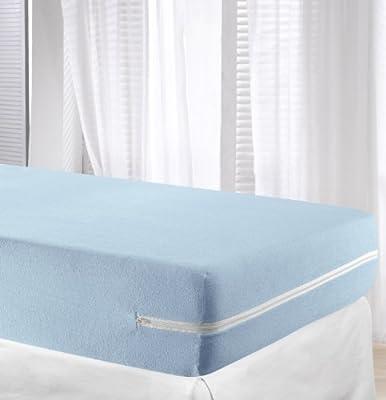 Velfont Light Blue Elastic Terry Towelling Mattress Cover