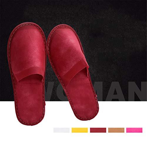 100 paia un adulto pantofole spa, non tessuto antiscivolo per spa, festa ospiti, hotel e pantofole da viaggio,red