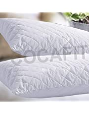 Happy Home Products 2nd Gen Pillow Protector Quilt Cover with hi Flipper Hypoallergenic 100% Cotton Satin Colour White Colour White Size (18 x 27)
