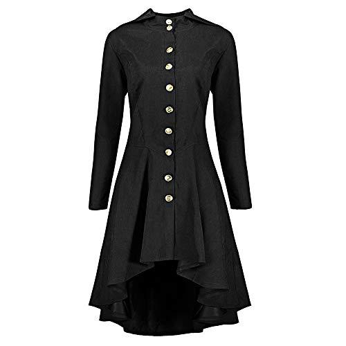 MIRRAY Damen Mode Knopf Reißverschluss Mantel Tunika Plus Größen Unregelmäßiger Rand Mantel