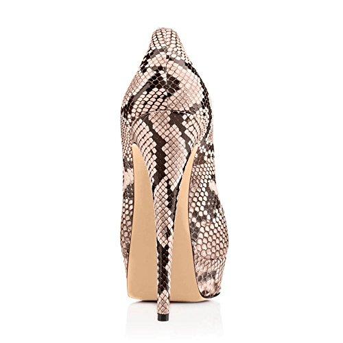 uBeauty Damen Pumps Stilettos High Heels Peep Toe Glitzer Übergröße Sandalens mit Plateau Schlangen