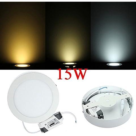 Panel de 15W regulable LED Ronda de techo abajo de luz de lámpara de CA 85-265V.