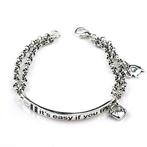 Zhwjh braccialetto in argento 925 con ciondolo a forma di lettera d'amore femminile, piccolo elefante, gioielli in argento thailandese, regalo di compleanno per san valentino