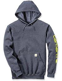 Carhartt Signature Sweat à capuche pour homme, avec logo Carhartt  M Gris foncé jaspé