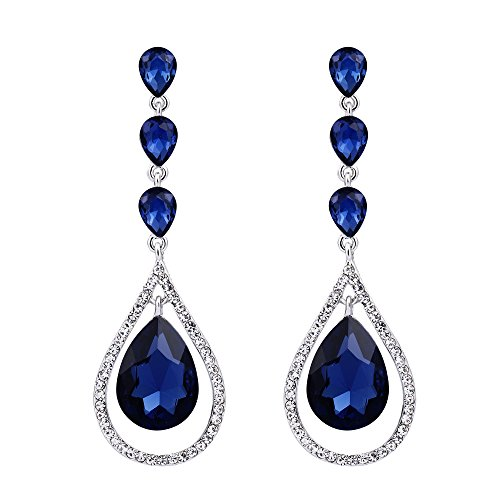 EVER FAITH Austrian Crystal Twist Leaf Hollow Out Teardrop Pierced Dangle Earrings Navy Blue Silver-Tone For Women