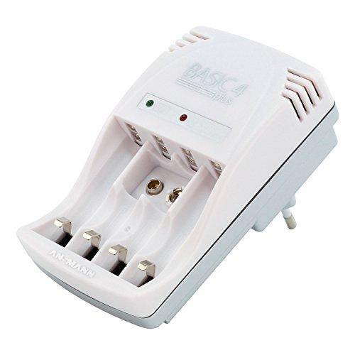 ANSMANN Steckerladegerät Basic 4 Plus / Ladegerät Akku für Micro AAA, Mignon AA & 9V Akkus / Dauerladegerät mit LED-Anzeige & automatischer Ladestromanpassung -