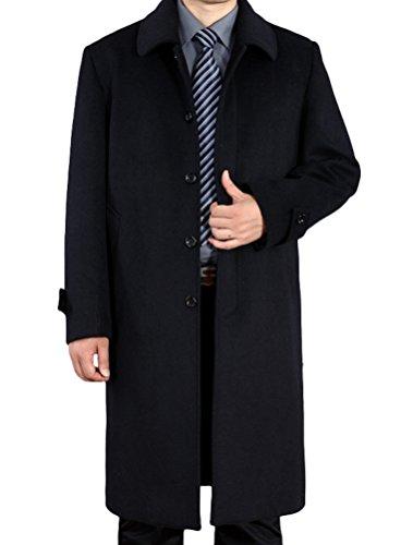 Vogstyle Herren Mantel Neu Wolljacke Lang Umlegekragen Wollmantel Warm Trenchcoat Business Windbreaker Überzieher Style 1 Schwarz L