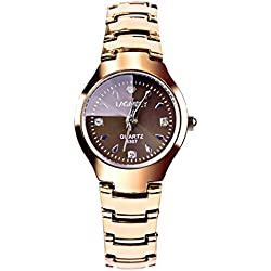 inkint 30m Waterproof Woman's Quartz Watch Rose Gold Tungsten Steel Band Casual Wristwatch Lady Fashion Bracelet Wrist Watch Analogue Display Watch with Box for Women Daily Bathing Swimming use