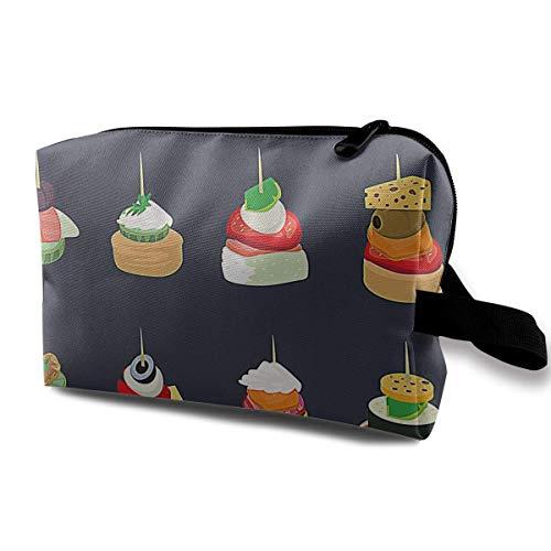 Appetizers Portable Travel Makeup Bag,Storage Bag Portable Ladies Travel Square Cosmetic Bag - Black Velvet Sheer