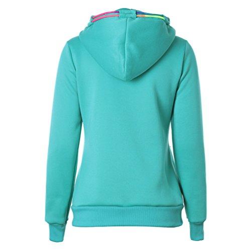 Zhiyuanan Femme Couleur Unie Toison Hooded Sweater Veste Loose Manches Longues Collage Cardigan Zipper Placket Coloré Drawstring Sweats À Capuchon Vert