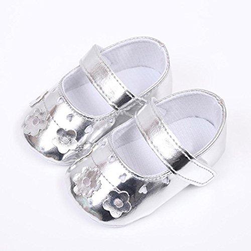 Pour 0-18 mois Bébé filles ,Transer ® Les filles mignonnes douces de semelle anti-dérapantes de fleur des sandales Argent