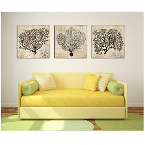 Druck auf leinwand 3 Stücke Korallen dekorative gemälde dekoration für wohnzimmer leinwand gemälde wandbilder-50x50 cm Kein Rahmen