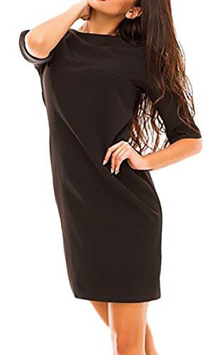Damen Abendkleid Kurz Mit Ärmeln Figurbetont Elegant Vintage Cocktailkleid Partykleid Ballkleid Schwarz