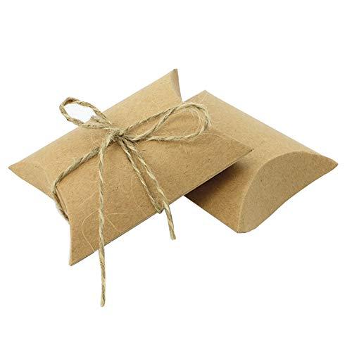 25 Stücke Braun Kraftpapier Kissenform Kartons Boxen mit Hanfseil Handgemachtes Geschenk Verpackung Papier Boxen Süßigkeiten Keks Container Fällen für Souvenir Birthady Geschenkpapier