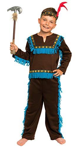 Bis Kostüm Junge - Magicoo braunes Indianer Kostüm Kinder Jungen mit Kopfschmuck Größen 110 bis 134 - Fasching Kostüm Indianer Junge (110/116)
