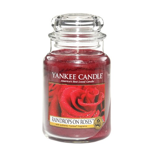 Yankee Candle Raindrops ON Roses Kerze, Glass, CZERWONY, L -