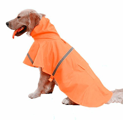 Pet Poncho Lightweight With Lead Hook Breathable (Orange)