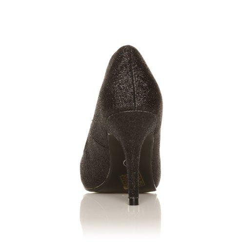 Scarpe con Tacco a Stiletto Alto Decollete Classiche, Nero Glitter, PEARL Nero Glitter