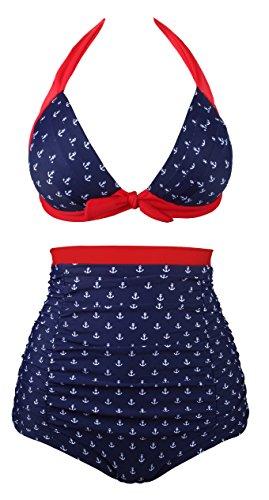Angerella Retro Polka-Punkt Badeanzug mit hoher Taille Bikini Set(BKI049-R1-L)
