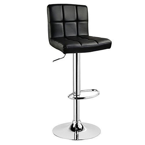 Woltu 9107-1 sgabelli da bar sedia cucina con schienale poggiapiedi similpelle cromato altezza regolabile girevole moderni nero 1 x