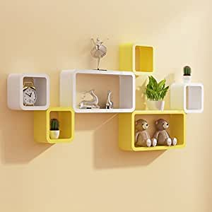 Delightful ... Custom Decor Designer Wooden Wall Shelves, (Yellow And White)   Set Of 6