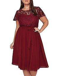 0d3c4732004 Nemidor Women s Vintage Style Lace Top Plus Size Midi Party Cocktail Dress