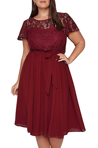 Nemidor Damen Cocktail Kleid Gr. 48, rot