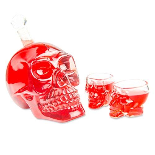 SET Skull- Flasche (1000 ml) mit 2 Totenkopfgläser (60ml), für Hausbar, Party, Geschenk im Totenkopfdesign, Vodka, Whiskey- Flasche, Kristall- Schädel, Wein- Dekanter, Schnapsglas, Farbe: Transpant Kristall-dekanter Likör