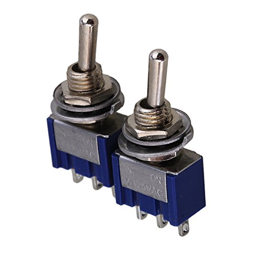 yibuy blau 2-Wege-2P Design AC 125 V 6 A Single Pole SPDT ON/ON Kippschalter 2 Stück