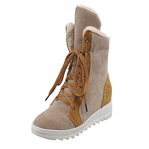 Yiiquan Donna Neve Stivali Piane Caldo Lace-up Stivaletti Scarpe Spessore Inferiore Snow Boots Luce Marrone