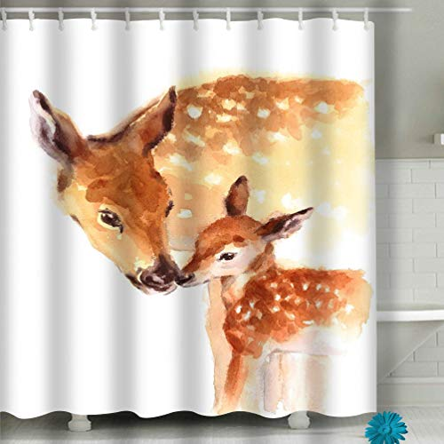 Bathroom Shower Curtain 60x72 INCH Set with Hooks - Spa, Hotel Luxury, Water Repellent Mother Baby Deer Love Family Hand Painted Mother s Day Summer Isolated White Background Good (Baby-camo-dusche Dekorationen)