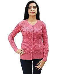 Matelco Women's Woollen Full Sleeves Self Designing Short Cardigan
