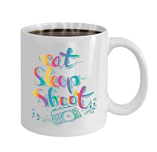 Coffee Mug Ceramic Cup Gifts 11 Ounces retro photo camera stylish lettering eat sleep shoo -