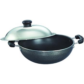 Prestige Omega Select Plus Non-Stick Round Base Kadai with Lid, 17cm, Black