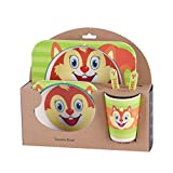 shangjunol Kinder-Geschirr-Set 5er Baby-Bambusfaser-Cartoon Bowl Tier Geschirr Set Kleinkind-Cup-Löffel-Gabel