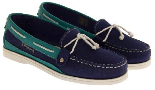 Seafarer 7200L Cuir Moccasin Chaussures Bateau Femmes Bleu Foncé & Turquoise